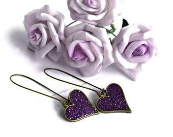 Purple Glitter Heart Earrings, Glitter Hearts, Drop Earrings, Dangle Earrings, Sparkly Earrings, Glittery Earrings, Wedding Jewellery