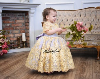 Baby Girl Birthday Dress Baby,  Lace Flower Girl Dress Gold Lilac, Tutu dress girl 1 year 2 year old Lace Outfit Toddler Lace dress Wedding