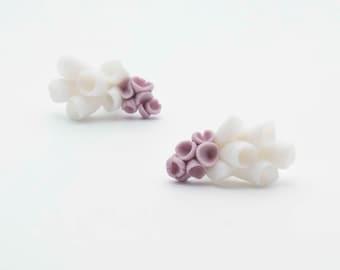 Ceramic Flower Post Earrings ∙ La-Rochelle ∙ White Purple Porcelain Flowers on Sterling Silver Studs  ∙ Cluster Statement Earrings