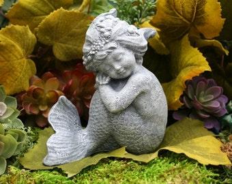 """Little Mermaid Garden Statue - """"Merissa"""" - Concrete Outdoor Garden Decoration"""