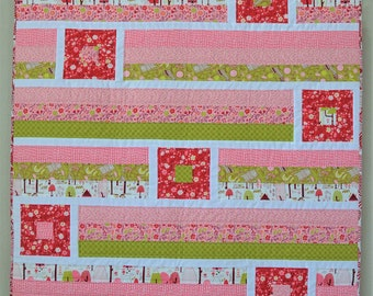 Handmade Modern Baby Quilt Girl // Woodland Quilt //Moda Just Another Walk in the Woods Fabric Collection in Pink, Red and Green