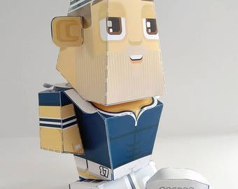 Paper Toy Craft Activity BLUE Rugby  – Super DIY kids craft gift for boys and girls, makes a great sports party craft activity