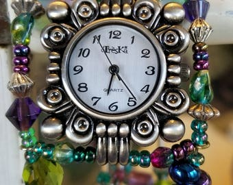 Beaded watch adjustable size memory wire