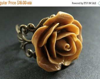 MOTHERS DAY SALE Light Brown Rose Ring. Latte Brown Flower Ring. Filigree Ring. Adjustable Ring. Flower Jewelry. Handmade Jewelry.