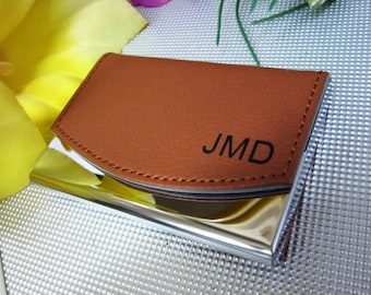 Personalized leather business card case monogram minimalist personalized business card holder leather business card holder gift personalized business card case colourmoves