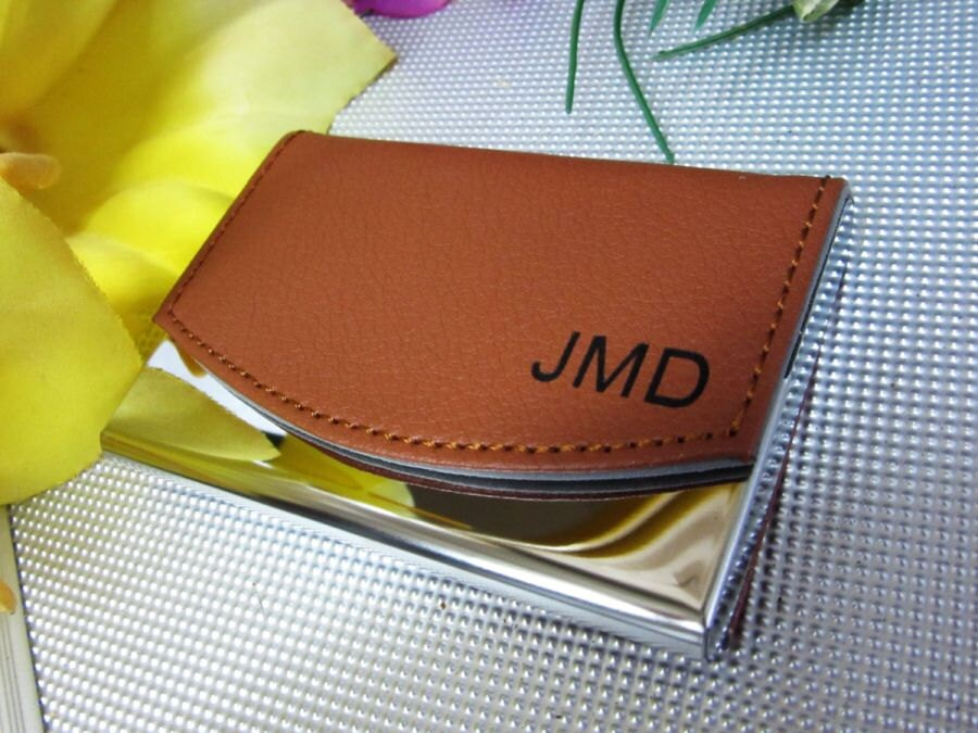 Leather personalized business card holder choice image business personalized leather business card case gallery business card template personalized business card holder leather business card colourmoves