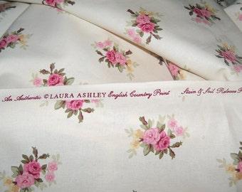 Laura Ashley English Country Pink Roses Cotton Fabric New Old Stock sewbuzyb