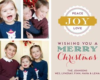 Christmas Seal Printable 5x7 Christmas Card with Photos