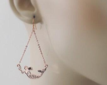 Mermaid Earrings - Rose Gold Earrings - Chain Earrings - Crystal Earrings - Boho Earrings - handmade jewelry