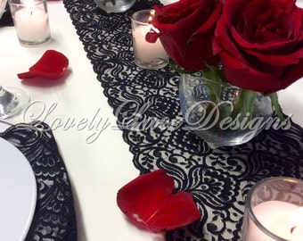 Lace Table Runner, 30ft long  Black, 6.5in Wide, Lace Table Runner/ Vintage,Overlay, Black Wedding Decor, WEDDINGS/ Party Decor/Centerpiece