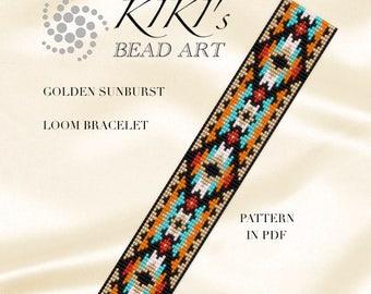 Bead loom pattern, Golden sunburst, ethnic style LOOM bracelet cuff pattern in PDF - instant download