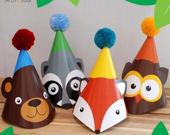 4 X WOODLAND ANIMAL Children's Birthday Party Wool Pom Pom Hat Raccoon Owl Fox Bear