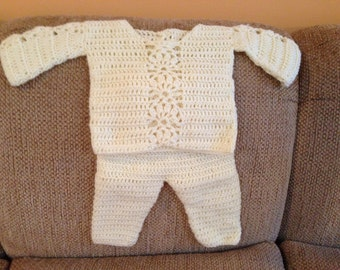 Yellow Crocheted Layette Set - 12 to 18 months