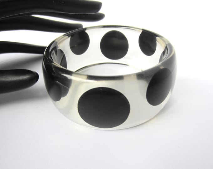 BIG, BLACK Bubble Bangle Bracelet created with clear lucite ~wonderful, vintage costume jewelry
