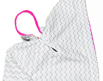 Car Seat Poncho 4 Kozy Kids(TM) with pockets, reversible, option to add detachable hood & inside batting, safe, warm-gray chevron w/hot pink