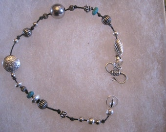 925 Sterling Silver Beaded Bracelet with a hint of Turquoise