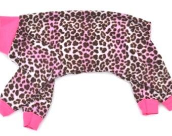 "Dog Pajamas. ""Pink Ombre Cheetah Pajama"" - Italian Greyhound and small dog sizes"