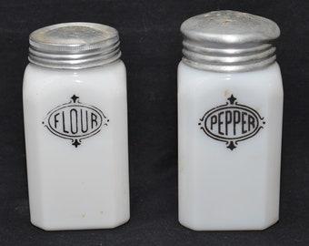Hazel Atlas Milk Glass Flour and Pepper Shakers - A Pair