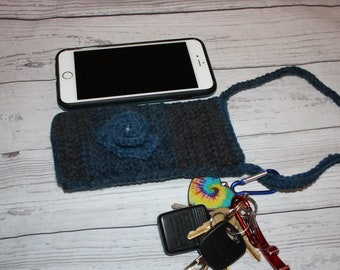 Cell phone sleeve, cell phone cozy, cross body bag, cross body purse, crochet cell phone holder, cell phone holder, cell phone case