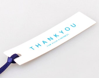 10 Thank You Square Tags - Blue (2.7 x 0.7in)