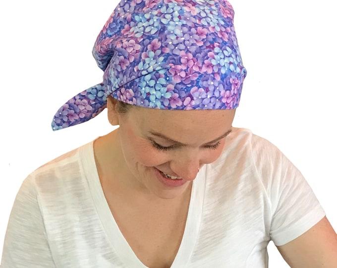 Featured listing image: Sandra Women's Surgical Scrub Cap, Cancer Hat, Chemo Head Scarf, Alopecia Head Wrap, Headwear, Cancer Gift, Hair Loss Blue Heather Flowers