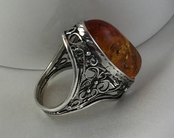Natural Baltic Amber Vintage Ring and Silver.925 oxidized ,Amber Oval Cognac Jewelry For Women