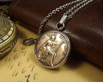 "1921 British Farthing Stainless Steel Bezel Set Coin Necklace on 17.5"" Chain, 97th Birthday Gift"