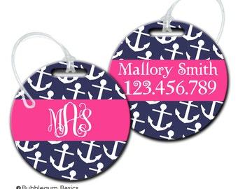 Monogram Luggage Tag - Personalized Bag Tag - Anchor Nautical Bag Tag - School Backpack Tag - FIBERGLASS tag
