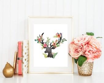 Antlers print, floral deer head print, printable antlers, deer print, woodland nursery print, deer antler wall art, floral antlers print