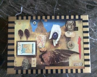 Vintage Nick Bantock empty Egyptian Jukebox Greeting Cards box and The Fuller Brush Man Letter Opener.
