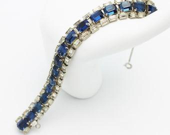 Vintage Sapphire Blue Regency Signed Bracelet