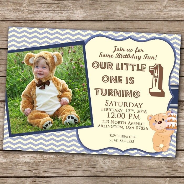 Boy Invitation 1st Birthday Teddy Bear Invitation 5x7 1 Year