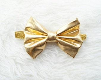 Metallic gold big bow baby girl headband