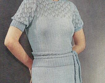 Tea Dress Vintage Knitting Pattern 430