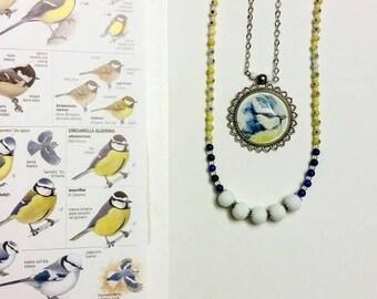 Double necklace with Cinciarella bird