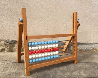 ABACUS vintage counting toys from the 60s 70s.  Learning instruments.  Children Decor Props educational Vintage Bright Solid Wood Decor