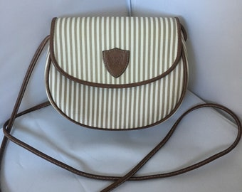 Vintage Tan and White Striped Leather Crossbody Purse by Liz Claiborne