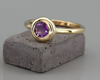 14k Gold Ring set with 5mm Natural Amethyst | Handmade Natural Amethyst Ring made of solid 14k gold