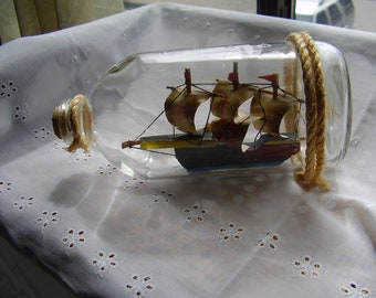 Vintage SHIP in a BOTTLE/Nautical Decor