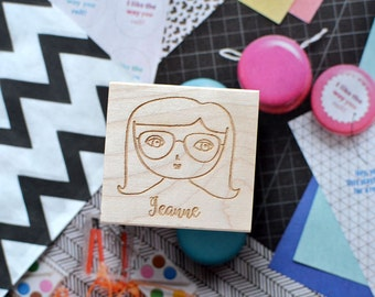 Girl Stamp - Face Stamp - Customized Stamp - Personalized Stamp - Girl Face Stamp