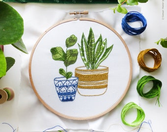 Botanical embroidery, Embroidery kit, Green embroidery - Blue & Green Houseplants - Hand embroidery, Diy kit,Embroidery art, Broderie