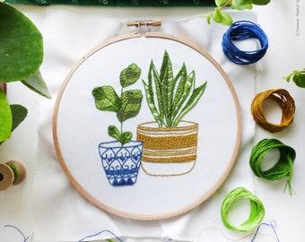 Broderie de botanique, kit de broderie, broderie à la main broderie vert - bleu & vert plantes d'intérieur -, kit de bricolage, broderie d'art, Broderie