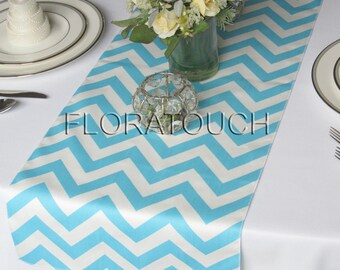 Light Turquoise Pool Blue And White Chevron Table Runner Zigzag Wedding Table  Runner