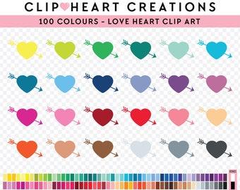 100 Loveheart Clipart, Commercial use, PNG,  Digital clip art, Digital images, Rainbow digital scrapbooking clip art, valentines clipart