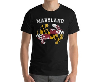 Mens Maryland Flag Crab Shirt Gift, Gift Idea Shirt For Men, American State T Shirt, Maryland Crab Tee For Him, Flag of Maryland America Tee