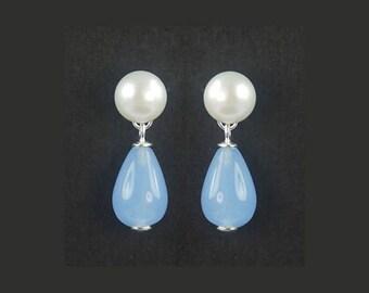 925 Silver White Freshwater Pearl,Blue Chalcedony Briolette Stud Earrings E086