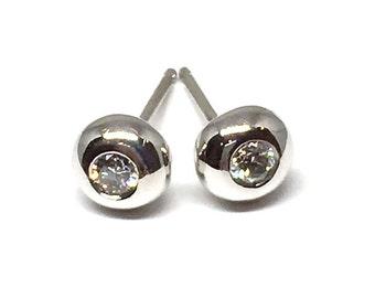 Diamond Studs 18k Gold Studs Diamond Stud Earrings White Gold Studs Diamond Earrings April Birthstone Bridal Women Gift Wife Her Girlfriend