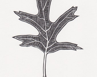 "Block print: Silver Maple leaf - limited edition hand pulled fine art block print, linocut print (5 x 7"")"