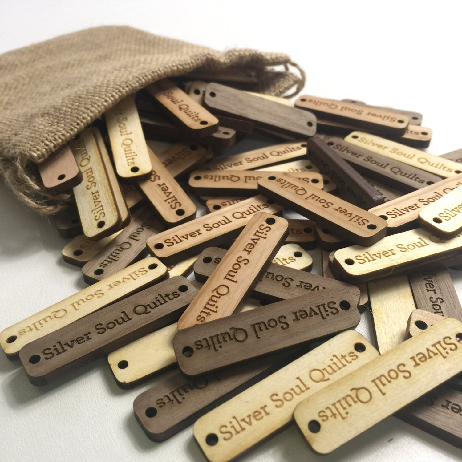 Greatest Custom Wood Tags 2 inch x .50 inch Double Hole Branding Brand FO12