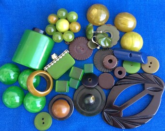 Wonderful Vintage Bakelite Collection of 30 Pieces Green, Black, Blue for Crafts, Jewelry Making, Projects, Sewing, Fashion, Etc.